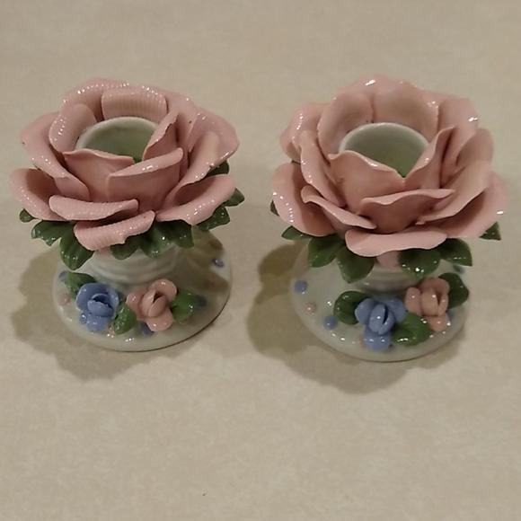 Pink Rose Porcelain Candle Holders